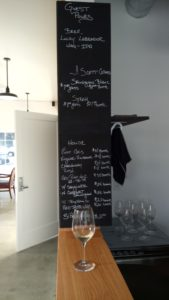 D'Anu wines tasting room menu